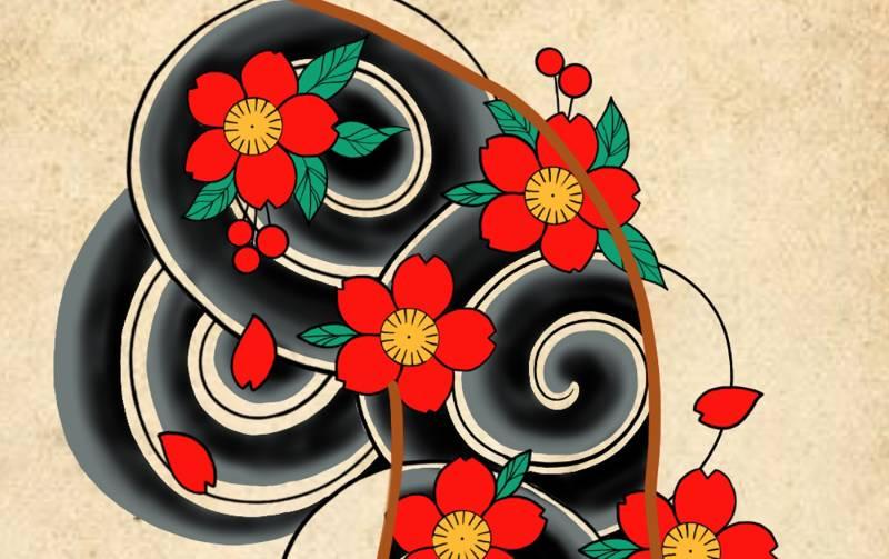 fiori nel tatuaggio giapponese
