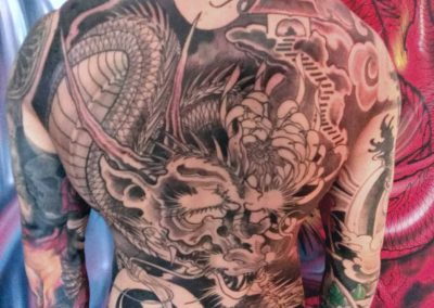 tatuaggio drago schiena tatuaggio GIAPPONESE JAPAN TATTOO BY LUKE RED TATTOO VERONA DOMEGLIARA