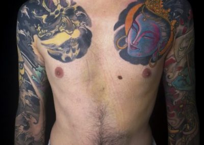 PETTORINE E BRACCIA tatuaggio GIAPPONESE JAPAN TATTOO BY LUKE RED TATTOO VERONA DOMEGLIARA