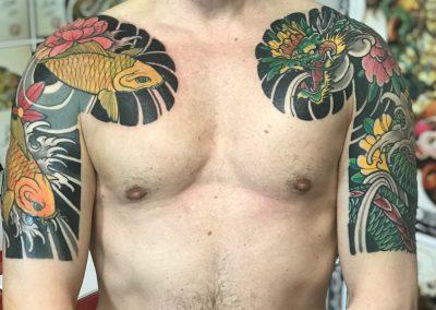 CARPE DRAGONE tatuaggio GIAPPONESE JAPAN TATTOO BY LUKE RED TATTOO VERONA DOMEGLIARA